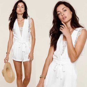 Heartloom Mila White Romper with Lace XS